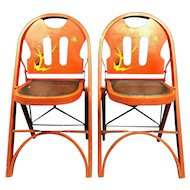 Rare Pair of 1920's Red Folding Chairs by Louis Rastetter & Sons