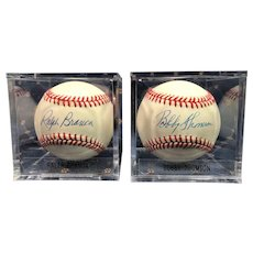 Two Baseballs Autographed by Ralph Branca & Bobby Thomson.