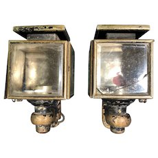 Pair of Antique Brass Carriage Lamps with brackets