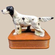 Vintage 1950's Painted Cast Metal Setter Dog Lamp