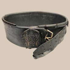 Rare 18th Century Leather Traditional Lamber's Belt