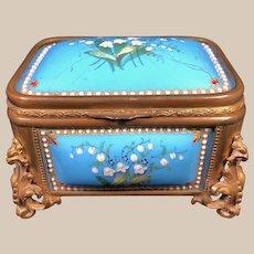 Antique TAHAN Blue Sevres Enamel Jewelry Box