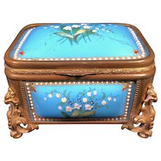 Antique TAHAN Blue Sevres Enamel Jewelry Box