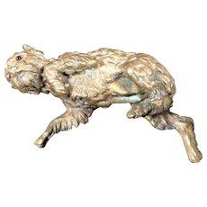 Antique GIROUX 1840's French Bronze Sculptural Dog Paper Weight #3