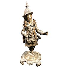 Very Rare Antique French GIROUX Wine Peddler Bronze Sculpture