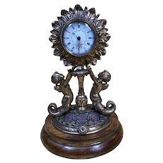 Antique Alphonse GIROUX Bronze Champleve Clock