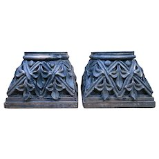 Pair of Huge Vintage Carved Wooden Capitals - Architectural Salvage