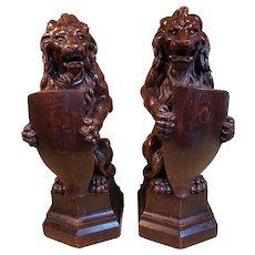 HUGE Pair Antique Heraldic Carved Wood Lions