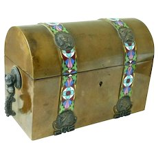 Antique TAHAN Bronze & Champleve Domed Top Desk Box