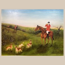 """Vintage """"Tally Ho"""" Oil Painting by M. McHale 1972"""