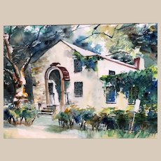 Lovely Vintage Watercolor by E. J. Cooper Dated 1973