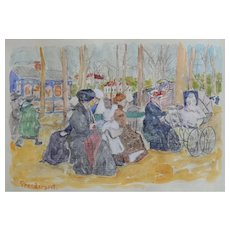 MAURICE PRENDERGAST (1859 - 1924) (ATTR) Charming Watercolor & Pencil on Paper c1893