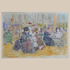 Maurice Brazil Prendergast (1859 - 1924) (ATTR) Watercolor & Pencil on Paper c1893