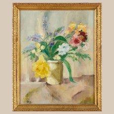 Lovely William Glackens (American , 1870-1938) Flower Still Life Oil on Canvas, PAFA, New Hope, Bucks County