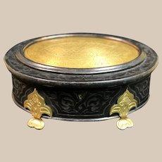 Antique Alphonse GIROUX Ebony & engraved Bronze Casket