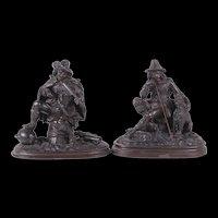 Pair of Antique c1860's Dutch Bronzed Spelter Sculptures
