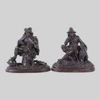 Pair of Antique c1860's Dutch Bronzed Spelter Sculptures