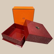 Rare Authentic Vintage HERMES lacquer wood buffalo horn box
