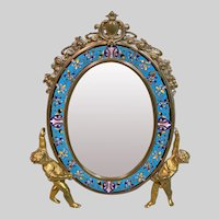 Antique French Alphonse GIROUX Gilt Bronze and Enamel Table Mirror, 19th Century