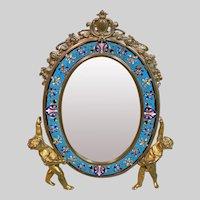 Antique French Alphonse GIROUX Gilt Bronze and Enamel Table Mirror, 19th Century