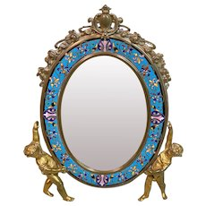 Antique French GIROUX Gilt Bronze and Enamel Table Mirror, 19th Century