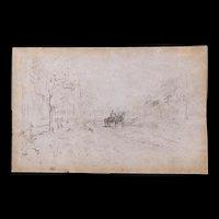 "Ralph Albert Blakelock (Amer. 1847-1919) ""Carriage in the Woods"" Sketch, Provenance"