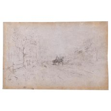 "Ralph Albert Blakelock (Amer. 1847-1919) ""Carriage in the Woods"" Sketch, Provenance"