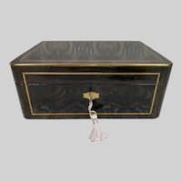 Antique TAHAN French Ebonised Campaign style Casket with inlaid Bronze