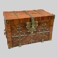 Large 17th Century  Kingwood And Brass Mounted Strong Box or Coffre-Fort