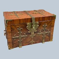Stunning! Large 17th Century Kingwood And Brass Mounted Strong Box or Coffre-Fort