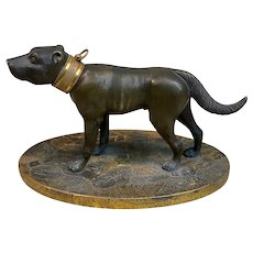 HOLD! Antique Victorian Two-Tone Bronze Dog Sculpture