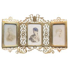 Antique French Alphonse GIROUX Tri-Fold Bronze Frame