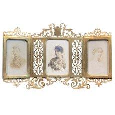 Antique French Alphonse GIROUX Tri-Fold Bronze Frame