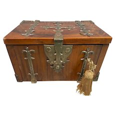 17th Century Kingwood And Brass Mounted Strong Box or Coffre-Fort