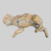 Antique GIROUX 1840's French Bronze Sculptural Dog Paper Weight #4