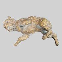 Antique GIROUX 1840's French Bronze Sculptural Dog Paper Weight #4