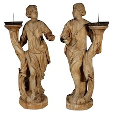 Exceptional Large Pair of 17th Century Continental Carved Wooden Figural Prickets