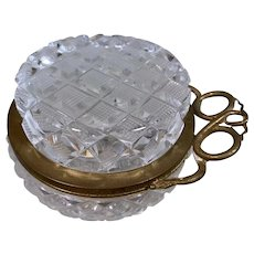 Charming Antique Crystal and Bronze Dresser Pin Box