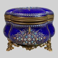 Magnificent Antique French TAHAN Blue Sevres Enamel and Bronze Box