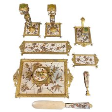 Exceptional Napoleon III Alphonse GIROUX & Ferdinand Duvinage Ormolu and Marquetry Eight Piece Desk Set