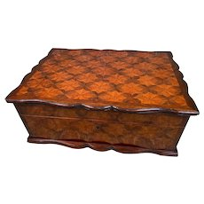 Stupendous Large French TAHAN Inlaid Kingwood Parquetry Etui Sewing Box