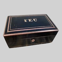 Small c1890 Napoleon III Ebonized and Inlaid Bronze Box