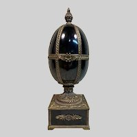 Large Antique Ceramic and Bronze Egg on Stand c1866