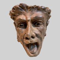 Rare 16th Century European Hand Carved Wood Grotesque Head