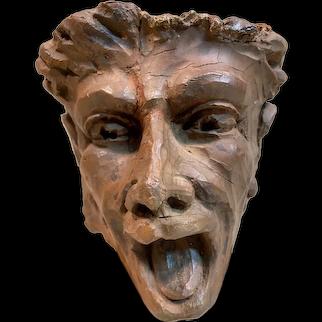 Rare 16th Century European Hand Carved Wood Grotesque Head