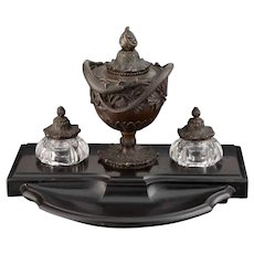 Museum Quality Antique French GIROUX Patinated Bronze, Cut-Glass, and Marble Pen & Inkstand
