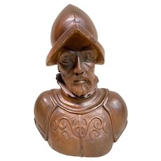 Large Antique Spanish Carved wooden Bust of Pedro Menéndez de Avilés, Spanish Conquistador