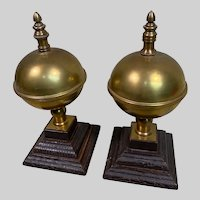 Pair of Large Antique Brass Finials on Plinths c1890