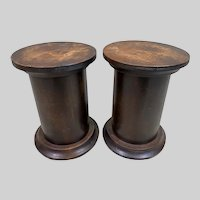 Stunning Antique Pair of Burl Wood Plinths