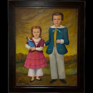 Huge Vintage Thomas Attardi (1900-1985, American) Folk Art Oil Painting